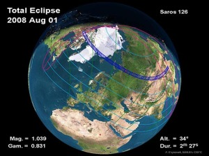 the path of Friday August 1's Total Eclipse of the Sun