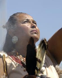 Chumash elder Julie Tumamait-Stenslie; photo by Gwyneth Roberts