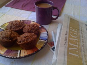 img_0038 bran muffins, coffee, Sunday LA Times by Art Predator