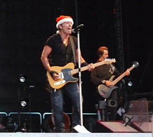Bruce Springsteen prepares for Santacon at a concert in Finland
