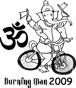 Lord Ganesha on a bike Burning Man