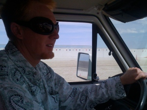 the drive on the playa to and from Burning Man 2009