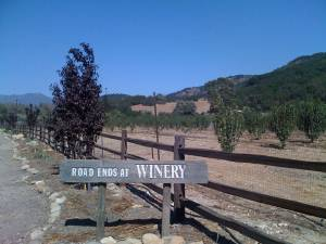 Old Creek Road ends at the winery