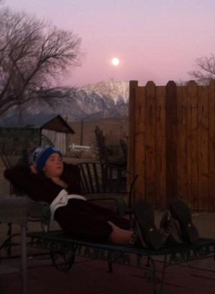 Relaxing under the moonlight after a full day of skiing at Mammoth Mountain, CA